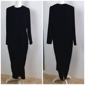 AKA by Eddie Bauer Black Long Velvet Shift Dress